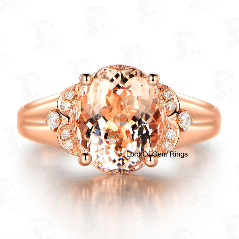 Oval Morganite Engagement Ring Diamond 14K Rose Gold 8x10mm  Floral - Lord of Gem Rings - 1