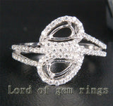Diamond Engagement Semi Mount Ring 14K White Gold Setting Pear 3x6mm - Lord of Gem Rings - 1