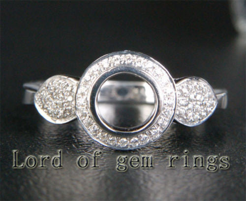 Bezel 5mm Round Cut 14K White Gold .31ctw Diamonds Engagement Semi Mount Ring - Lord of Gem Rings - 1