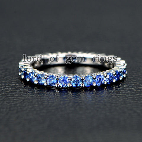 Blue Sapphire Wedding Band Eternity Anniversary Ring 14K White Gold - Lord of Gem Rings - 1
