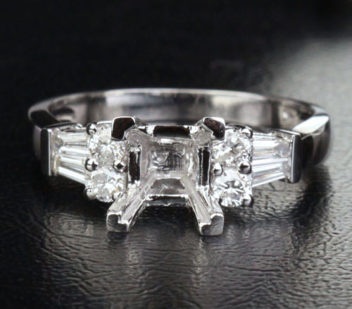 Diamond Engagement Semi Mount Ring 14K White Gold Setting Princess 5-5.5mm - Lord of Gem Rings - 1
