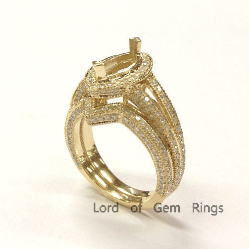 Diamond Engagement Semi Mount Ring Sets 14K Yellow Gold Setting Marquise 5x9mm - Lord of Gem Rings - 1