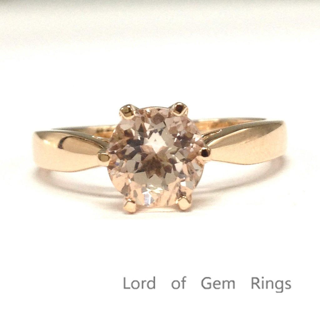 Round Morganite Engagement Ring Pave Diamond Wedding 14K Rose Gold 7mm - Lord of Gem Rings - 1