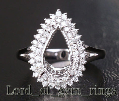 Diamond Engagement Semi Mount Ring 14K White Gold Setting Pear 8x12mm - Lord of Gem Rings - 1