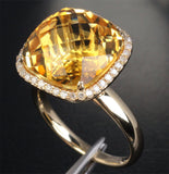 Cushion Citrine Engagement Ring Pave Diamond Wedding 14k yellow gold - Lord of Gem Rings - 3
