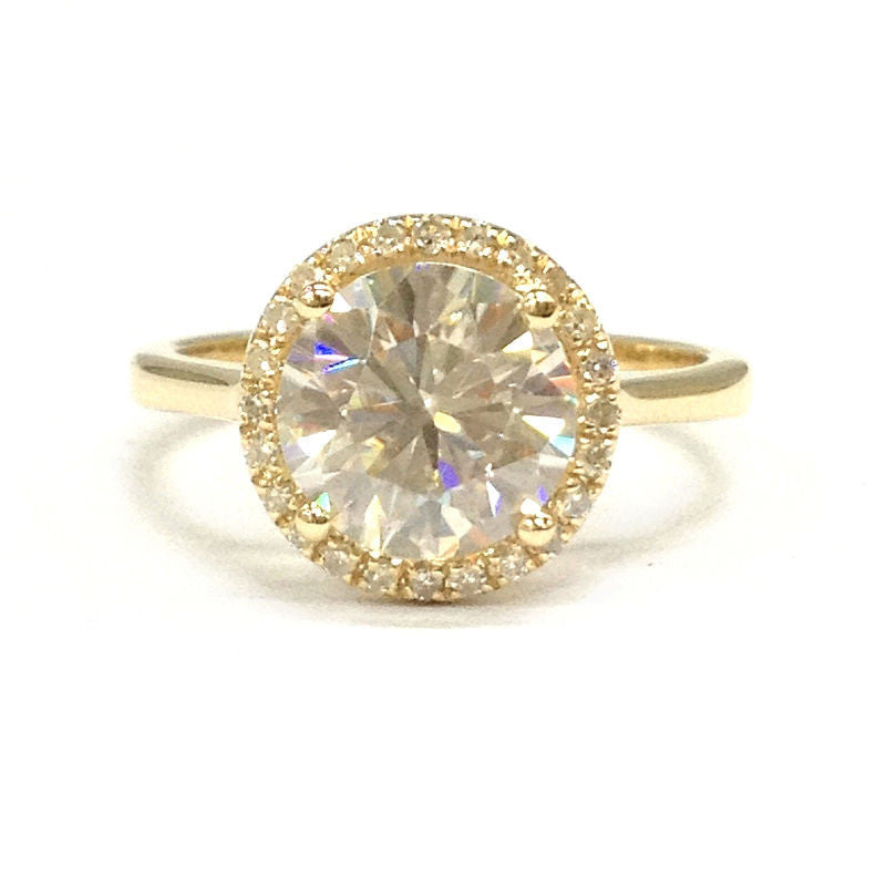 Round Moissanite Engagement Ring Pave Diamond Wedding 14K Yellow Gold 8mm - Lord of Gem Rings - 1