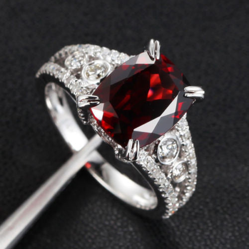 Cushion Garnet Engagement Ring Pave Diamond Wedding 14K White Gold 8x10mm  Antique Style - Lord of Gem Rings - 1