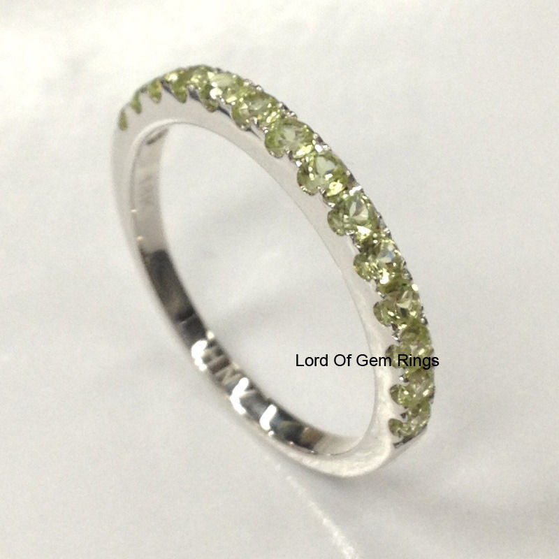 Peridot Wedding Band Half Eternity Anniversary Ring 14K White Gold 2mm Round - Lord of Gem Rings - 1