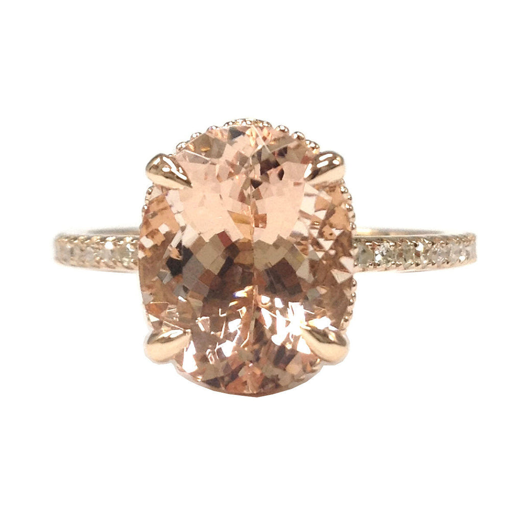 Reserved for mei-mona-lisa Oval Morganite Engagement Ring Pave Diamond 14K Rose Gold - Lord of Gem Rings - 1