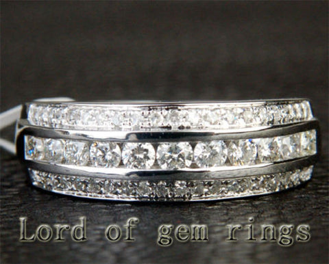 Brilliant Diamond Wedding Band Engagement Ring 14K White Gold .85CT Channel - Lord of Gem Rings - 1