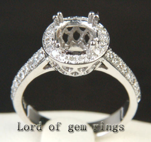 Diamond Engagement Semi Mount Ring 14K White Gold Setting Round 5.5-6mm - Lord of Gem Rings - 1