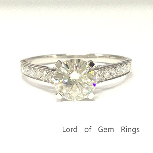 Round Moissanite Engagement Ring Cathedral 14K White Gold,7mm - Lord of Gem Rings - 2