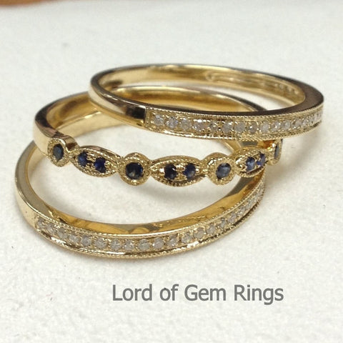 Stackable Pave Sapphires/Diamond  Wedding Ring Sets Half Eternity Anniversary Band 14K gold - Lord of Gem Rings - 1