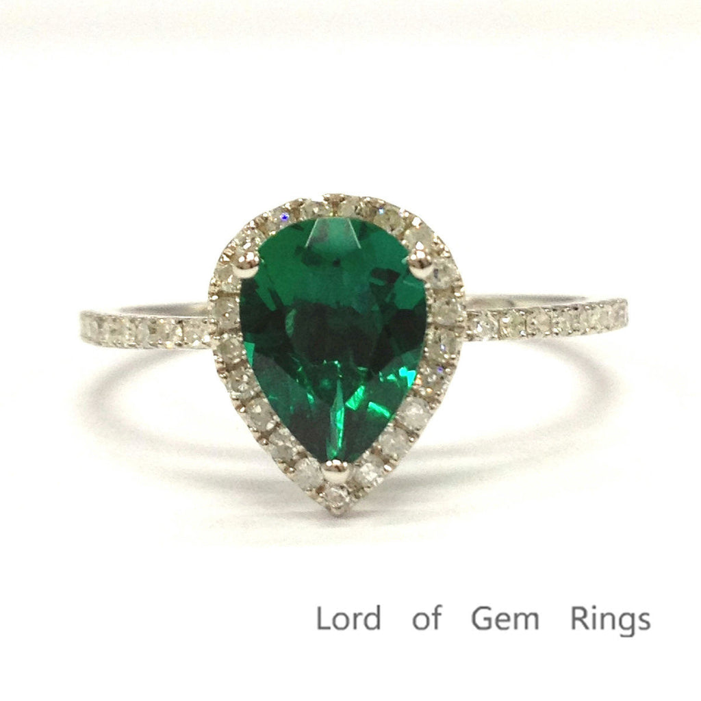 Pear Emerald Engagement Ring Pave Diamond Wedding 14K White Gold 6x8mm - Lord of Gem Rings