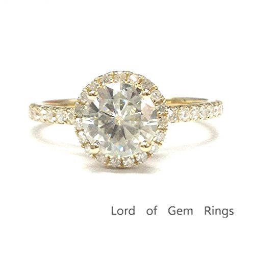 Round Moissanite Engagement Ring Pave Diamond Wedding 14K Yellow Gold,6.5mm,3/4 Eternity Band - Lord of Gem Rings - 1