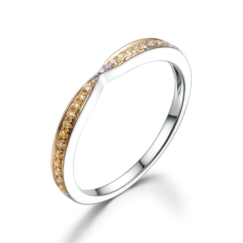 Pave Yellow Diamond Wedding Band Half Eternity Anniversary Ring 14K White Gold Symmetrical - Lord of Gem Rings - 1