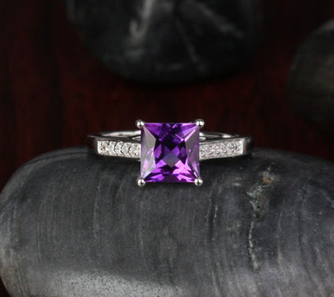 Princess Amethyst Engagement Ring Pave Diamond Wedding 14K White Gold 7x7mm - Lord of Gem Rings - 1