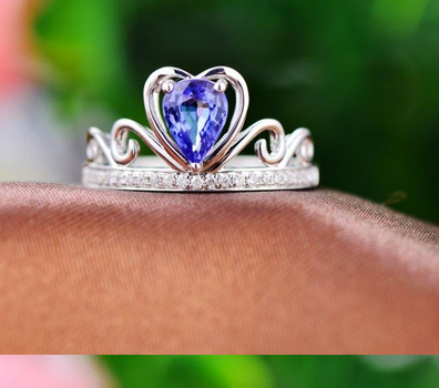 Pear Tanzanite Engagement Ring Pave Diamond Wedding 14K White Gold 5x7mm - Lord of Gem Rings - 1