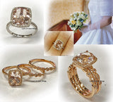 Reserverd for suesivycottage2011 Cushion Morganite Engagement Ring Diamond 14K Gold 10x12mm - Lord of Gem Rings - 5