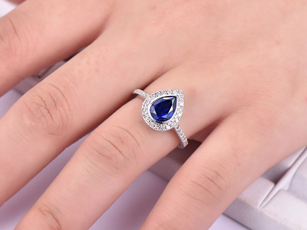 $599 Pear Sapphire Engagement Ring Pave Diamond Wedding 14K White ...