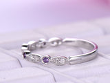 Amethyst Diamond Wedding Band Half Eternity Anniversary Ring 14K White Gold Open End
