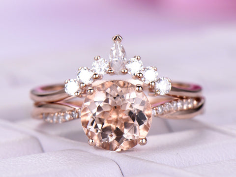 Round Morganite Ring Bridal Sets Round/Marquise Moissanite Tiara Band 14K Rose Gold 8mm