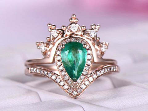 Pear Emerald Engagement Ring Sets Tiara Moissanite Band 14K Rose Gold 5x8mm