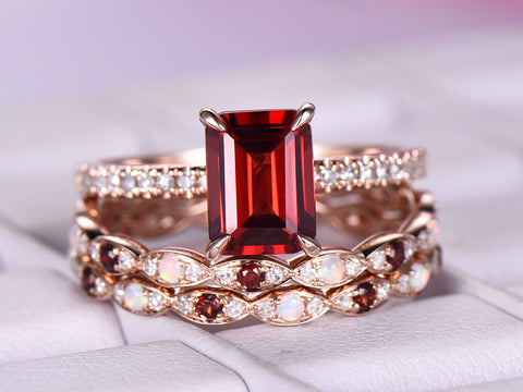 Emerald Cut Garnet Ring Trio Sets Opal/Garnet Matching Bands 14K Rose Gold 6x8mm