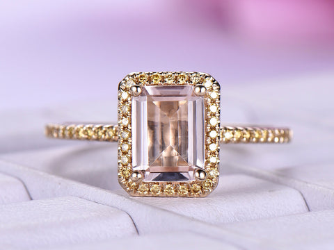 Emerald Cut Morganite Engagement Ring Pave Champagne Diamond 14K Yellow Gold 6x8mm