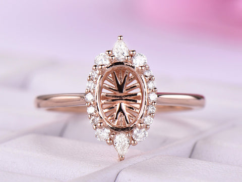 6x8mm Oval Diamond Semi Mount Engagement Ring 14K Rose Gold