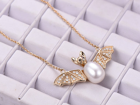 14K Moissanite Bat Pendant and 18K Yellow Gold Adjustable Chain