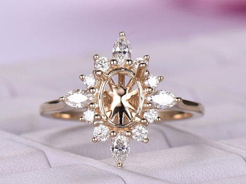Marquise/Round Diamond Semi Mount Ring 14K Yellow Gold Setting Oval 6x8mm