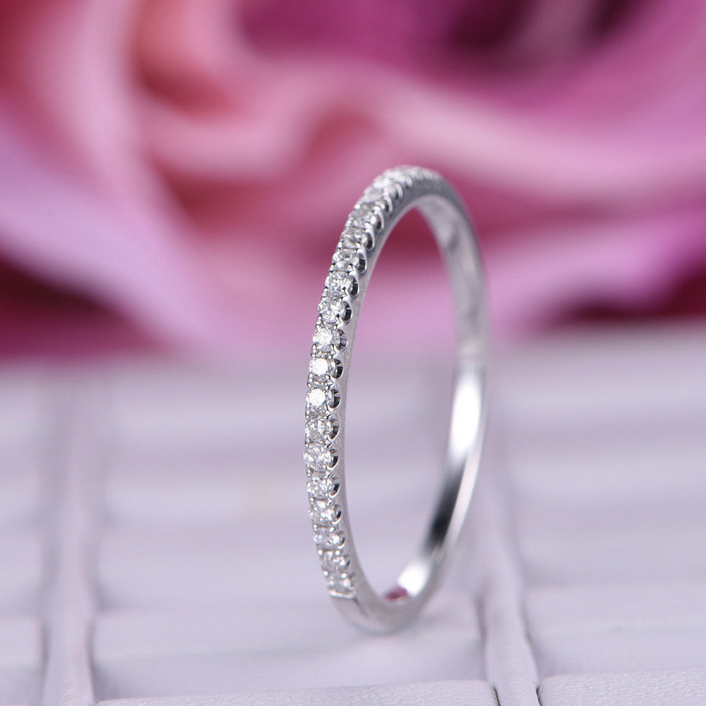 $239 Diamond Wedding Band Half Eternity Anniversary Ring 14K White ...