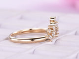 Baguette/Round Diamond Chevron Wedding Band 14K Yellow Gold