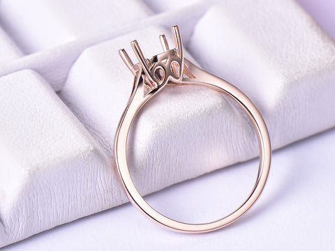 Diamond Engagement Semi Mount Ring 14K Rose Gold Round 6.5mm
