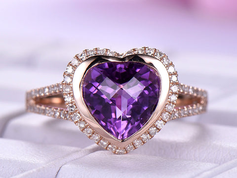 Heart Amethyst Engagement Ring Pave Diamond Split Shank 14k Rose Gold 10mm