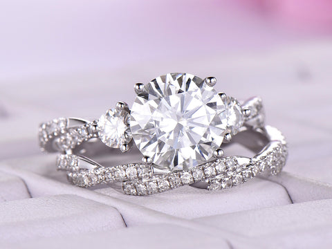 Round Moissanite Engagement Ring Sets Infinite Love Diamond Wedding Band 14K White Gold 8.5mm