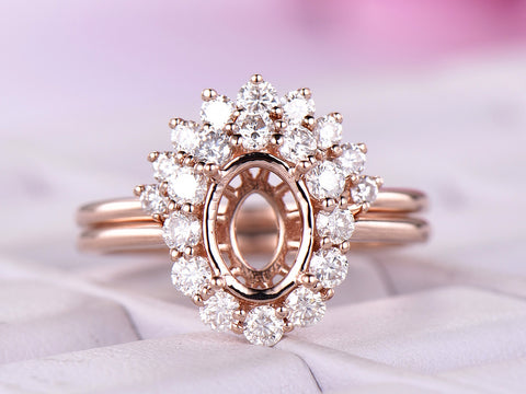 Reserved for GY: Morganite Ring Brial Sets Moissanite Halo Contour Wedding Band 14K Rose Gold Oval 7x9mm