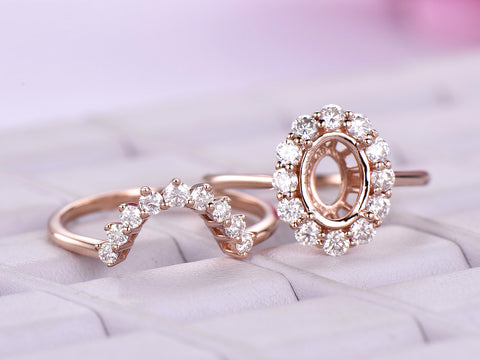 Semi Mout Ring Brial Sets Moissanite Halo Contour Wedding Band 14K Rose Gold Oval 6x8mm