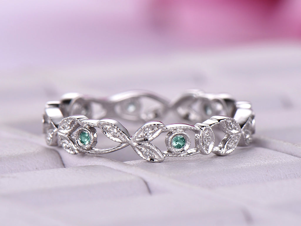 Alexandrite Diamond Wedding Band Eternity Vine Ring 14K White Gold