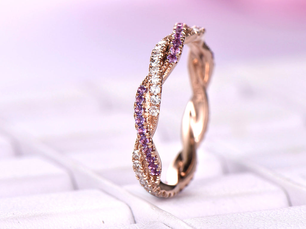 Amethyst Diamond Wedding Band Eternity Infinite Love Ring 14K Rose Gold