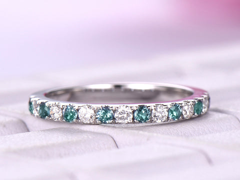 Alexandrite Diamond Band April/June Birthstone Half Eternity Ring 14K White Gold 2mm