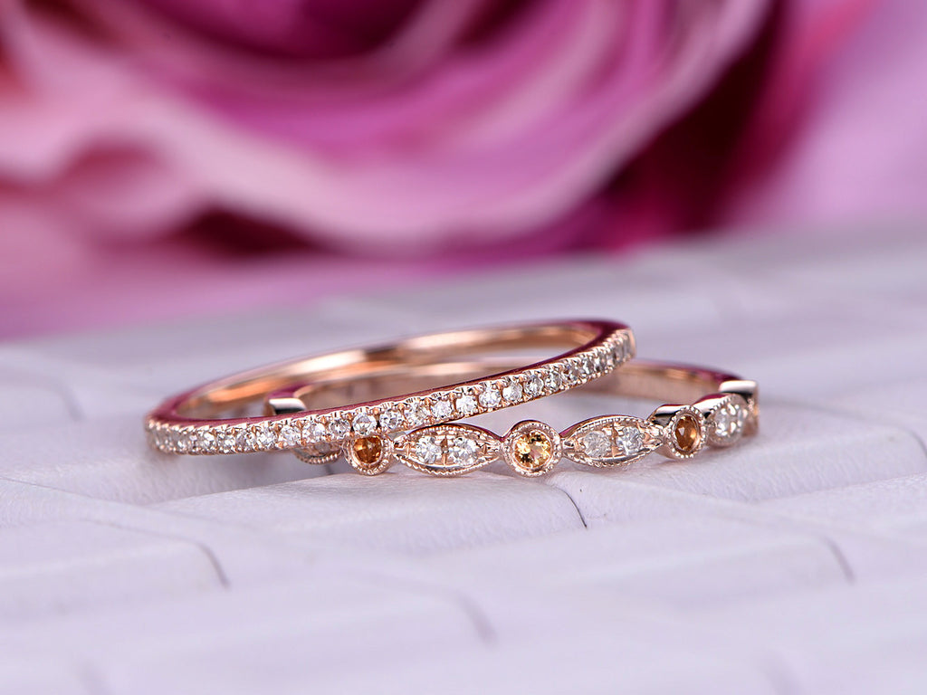 $529 Pave Yellow/White Diamond Stackable Wedding Ring Set Half ...