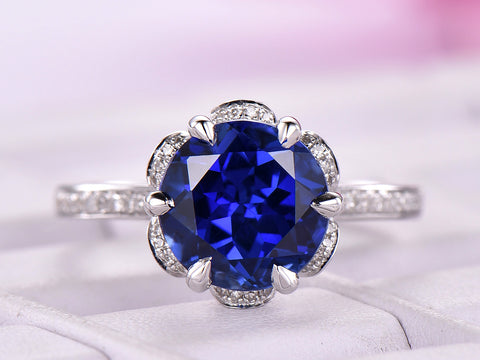 Round Sapphire Engagement Ring Diamond Petal Halo 14K White Gold 7mm