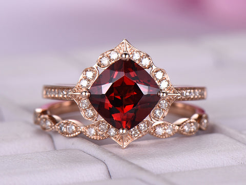 Cushion Garnet Cathdral Ring Bridal Sets Floral Diamond Halo 14K Rose Gold 7mm