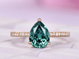 Pear Alexandrite  Ring Pave Diamond shank 14K Yellow Gold 6x8mm