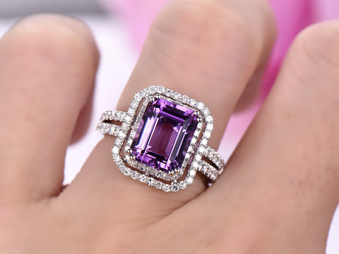 Emerald Cut Amethyst Ring Pave Diamond Double Halo Split Shank14K White Gold,8x10mm
