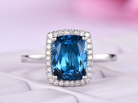 Cushion Blue Topaz Engagement Ring Pave Diamond  Wedding 14K White Gold 7x9mm