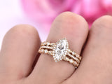 Marquise Moissanite Ring Trio Sets Art Deco Diamond Band 14K Yellow Gold