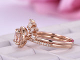 Round Morganite Ring Wedding Sets Baguette Diamond Tiara Band 14k Rose Gold 7mm